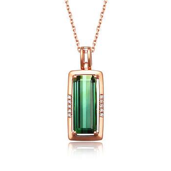 今上珠宝 18K金钻石绿碧玺吊坠女 玫瑰金色长方形锁骨