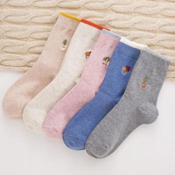 赛棉 5双装新款刺绣袜子女中筒袜 韩版网红学院风四季棉袜