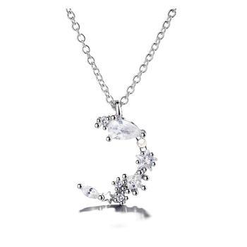 S925通体纯银闪钻不规则月牙气质珍珠锁骨链百搭礼物