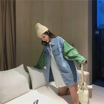 小贤 休闲宽松随性百搭格纹袖子拼接洗水牛仔衬衣领外套