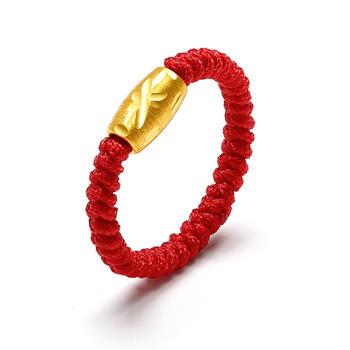 阿梵尼   足金黄金戒指女士 橄榄珠转运珠红绳戒指
