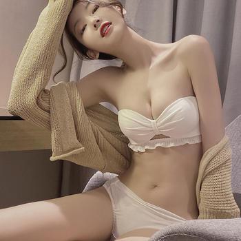 阿弗之吻 性感内衣无钢圈少女麻纱棉聚拢文胸小胸显大收副乳套装