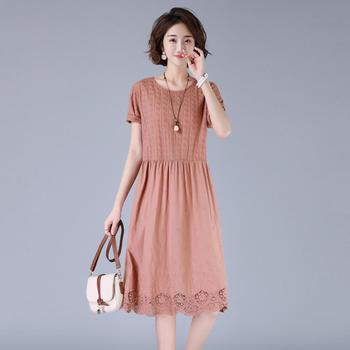2020年夏季文艺复古连衣裙那个中长款韩版时尚短袖长