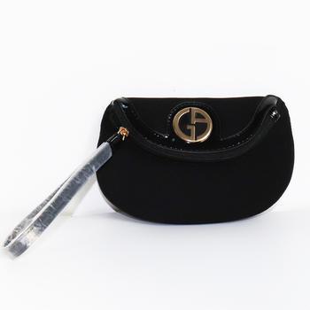 【专柜少有】意大利•阿玛尼(Armani) 黑色条纹布半圆型手拿包