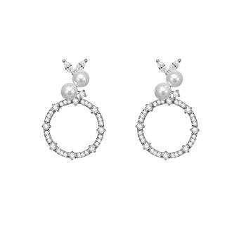 C&C 圆环形耳环人工珍珠耳钉简约百搭小圆圈项链吊坠锁骨链