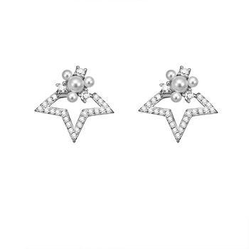 C&C 日韩风个性百搭镶钻星星人工珍珠耳钉短款耳环百搭耳饰