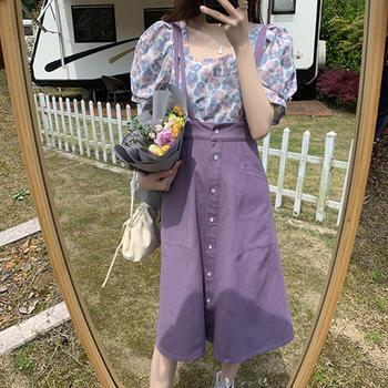 紫色半身裙2020年夏季a字高腰包臀短裙背带裙中长款 分开拍