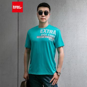 intercrew夏季韩版宽松休闲运动透气速干短袖T恤印字短袖T恤男