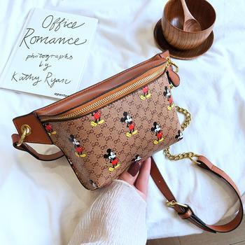 麦尔本潮流时尚韩版百搭米奇印花洋气欧范个性简约腰包胸包小包