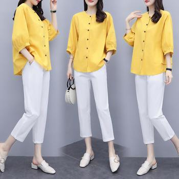 2020新款女装夏两件套裤棉麻上衣九分裤休闲套装女