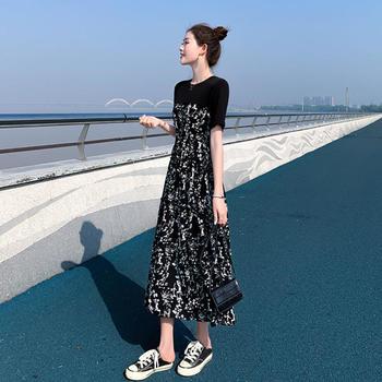 连衣裙女2020夏装新款赫本风中长款拼接碎花裙气质高腰显瘦长裙夏