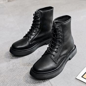 猩猩猴马丁靴女中帮工装靴英伦风高帮皮鞋韩版冬季女鞋百搭潮鞋黑
