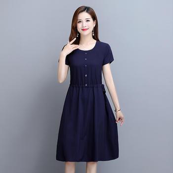 2021夏季新款纯色裙子宽松式收腰短袖连衣裙