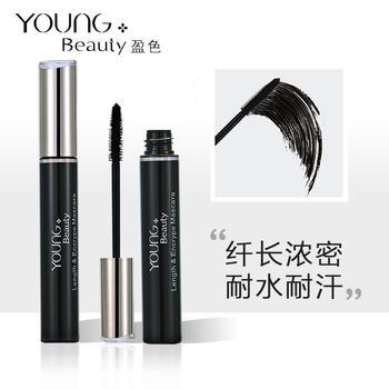 YoungBeauty盈色纤长浓密睫毛膏7.5g 黑色 耐水耐汗纤长浓密 持妆易卸除
