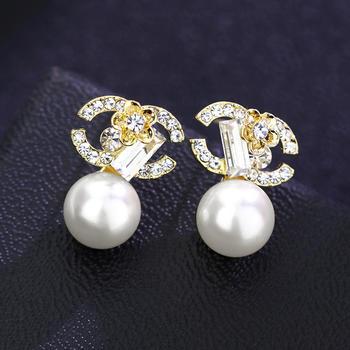 卡洛美飾品 雙C冷淡風耳環925銀針耳釘氣質長款耳飾