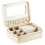 薇姿浅米色鳄鱼纹高档首饰盒化妆箱 珠宝盒 带镜子