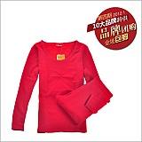 婷美中科暖卡生态热力绒保暖内衣套装中国红
