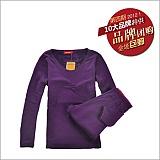 婷美中科暖卡生态热力绒保暖内衣套装紫罗兰