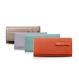 那沃(NAWO)满园2012新款欧美时尚淑女牛皮搭扣女士中长款钱包