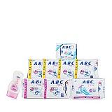 ABC纤薄纯棉卫生巾+护理液组合套装(9件/套)