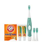 炫洁(Spinbrush)四驱专业洁白电动牙刷套组(专业洁白电动牙刷(5色可选)+替换刷头*2+艾禾美清新洁净牙膏 25gx2+艾禾美小苏打 227g)